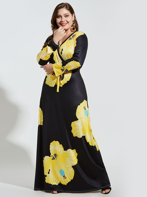 Print V-Neck Floor-Length Expansion Plus Size Women's Dress