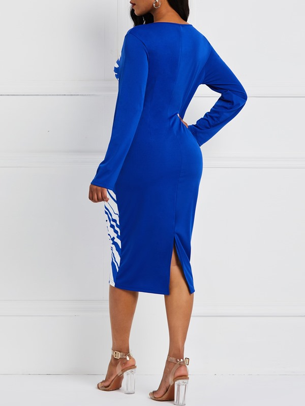 Mid-Calf Print Long Sleeve Pullover Women's Bodycon Dress