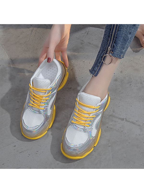 Mid-Cut Upper Candy Color Lace-Up Casual Sneakers