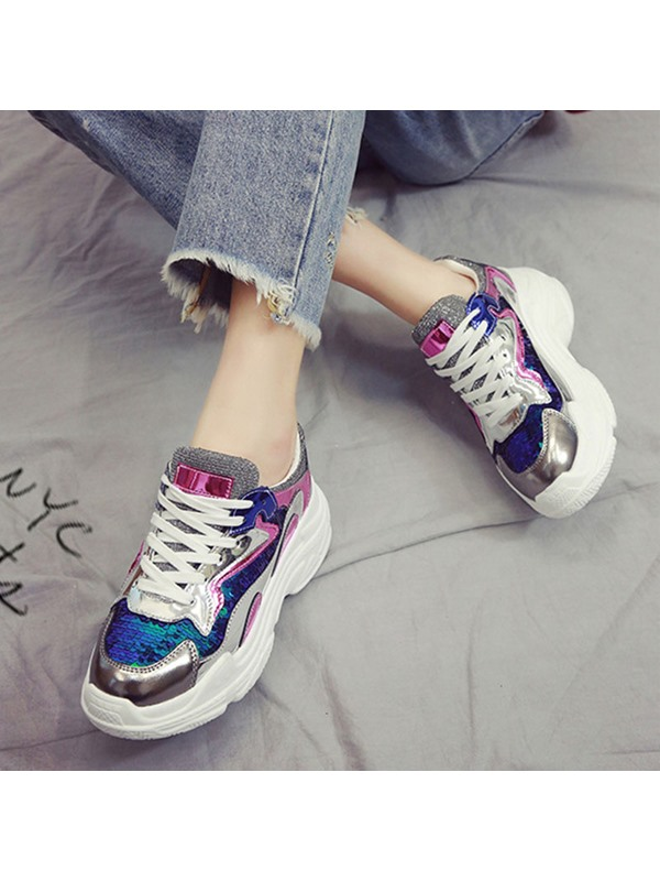 Metallic Round Toe Lace-Up Women's Sneakers