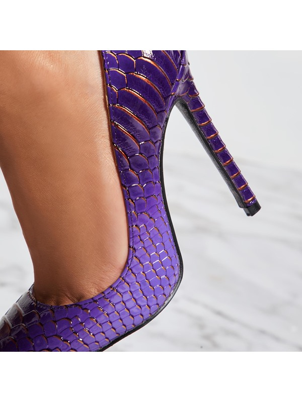 Pointed Toe Alligator Pattern Slip-On Prom Shoes