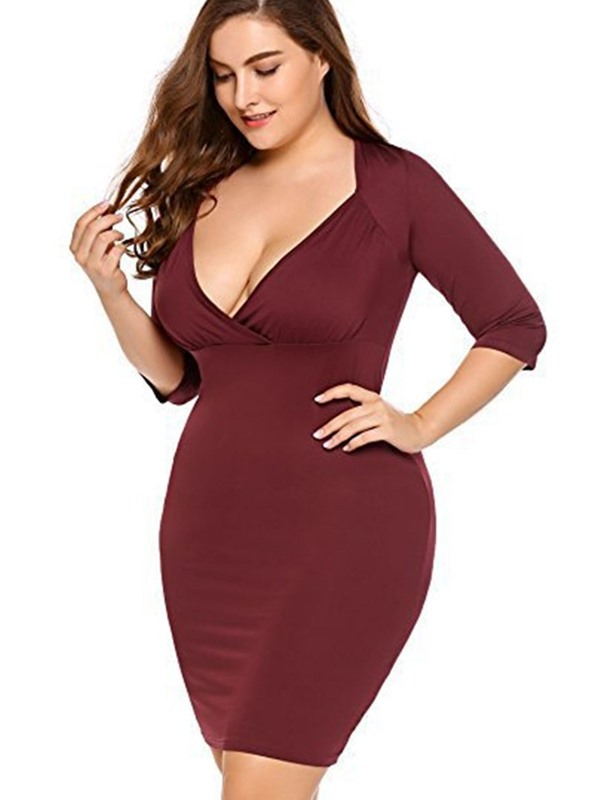 V-Neck Above Knee Bodycon Women's Plus Size Dress