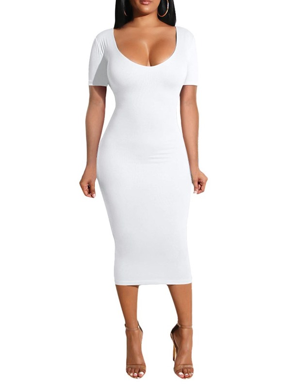 Scoop Short Sleeve Mid-Calf Mid Waist Women's Dress