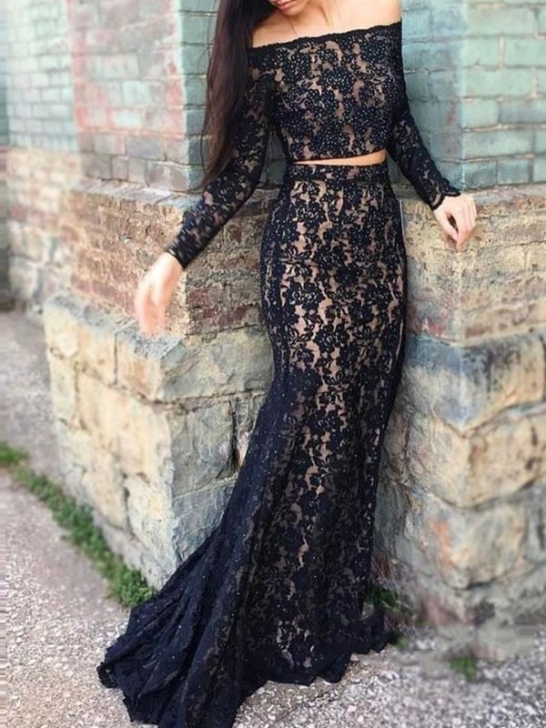 Long Sleeves Off-The-Shoulder Lace Sweep Evening Dress 2019