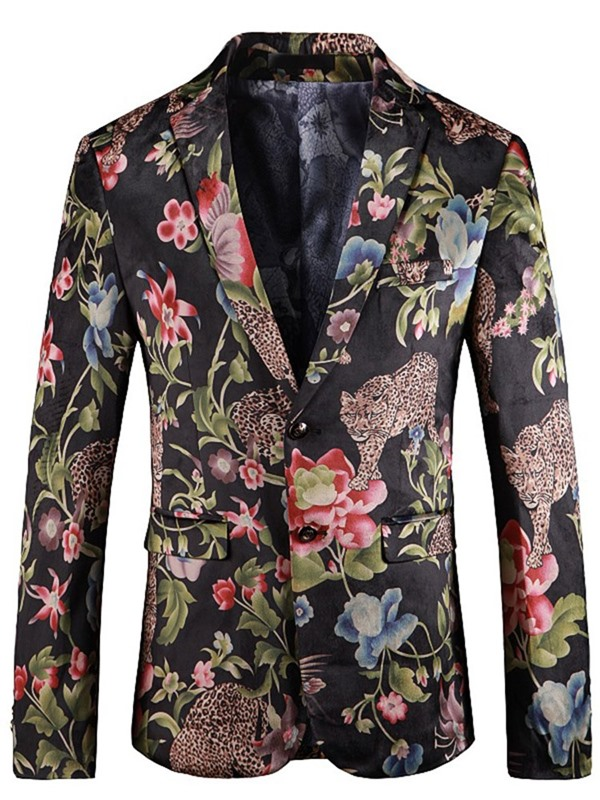 Floral Print Two Buttons Notched Lapel Men's Blazer