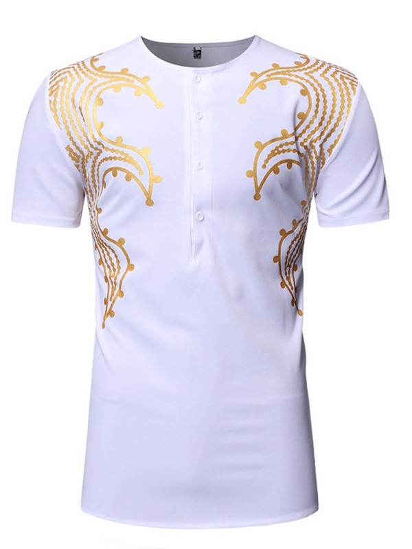 African Fashion Print Button Men's T-Shirt