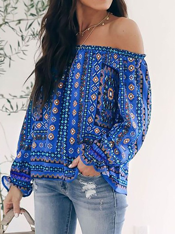 Geometric Off Shoulder Print Long Sleeve Women's Blouse