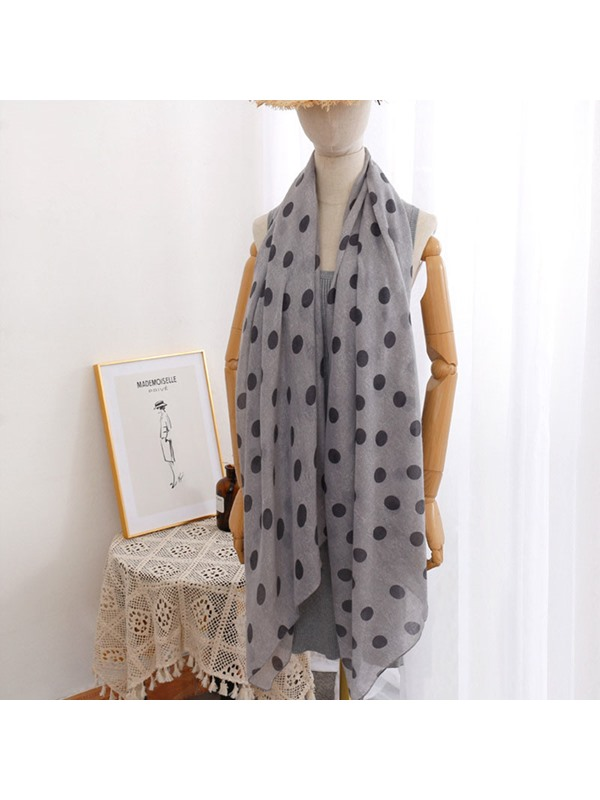 Long Soft Silk Chiffon Wrap Polka Dot Scarf