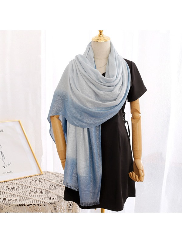 Shiny Gradient Polyester Rough Selvedge Summer Scarf
