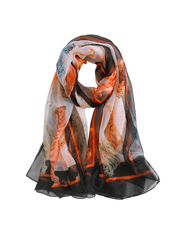 Tiger Pattern Sunscreen Charmeuse Ladylike Scarf