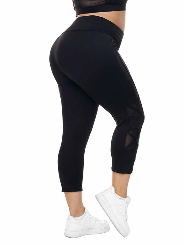 Women's Plus Size Mesh Plain Sports Pants