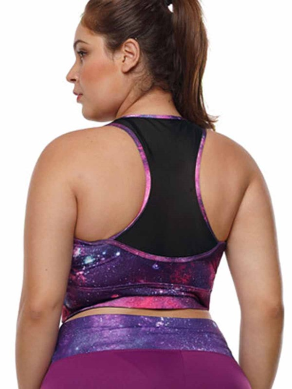 Women's Plus Size Color Block Yoga Pullover Sleeveless Sports Top