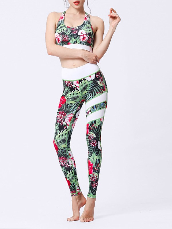 Floral Sleeveless Yoga Sets Activewear Set