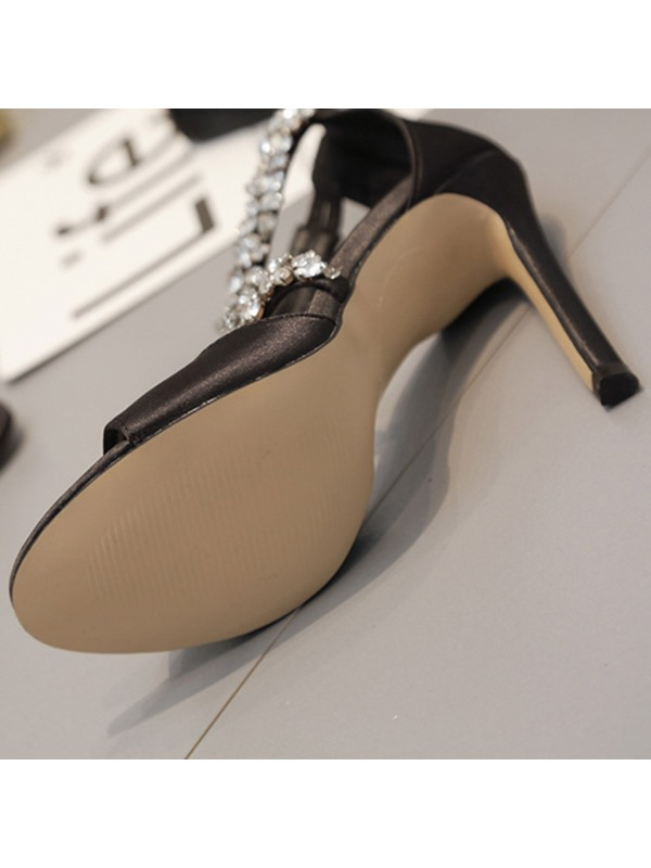 Stiletto Heel Zipper Heel Covering Rhinestone Prom Sandals