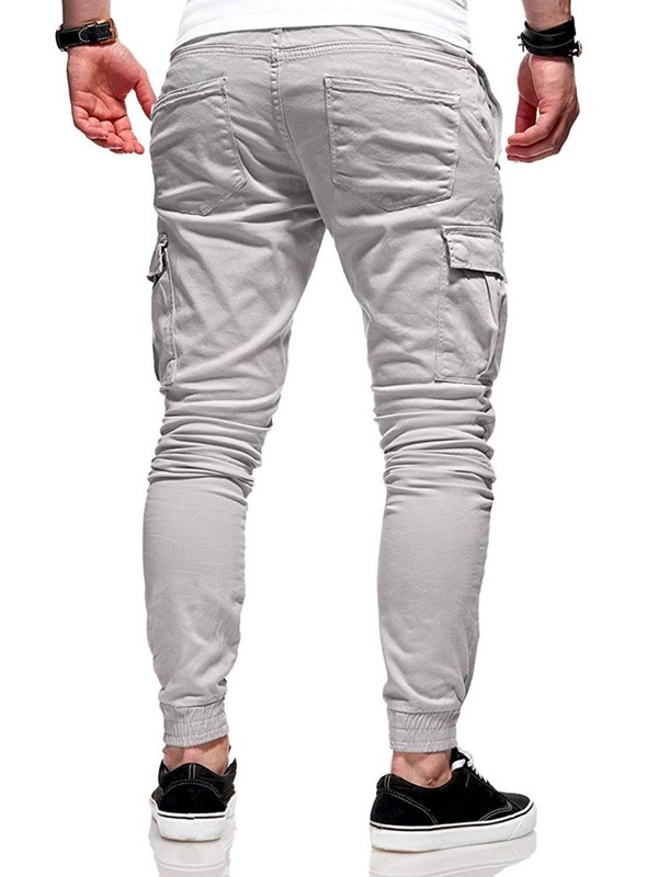 Plain Pocket Lace-Up Men's Casual Pants