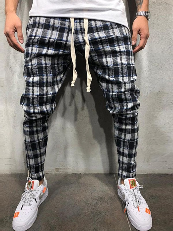 Lace-Up Color Block Plaid Loose Men's Casual Pants