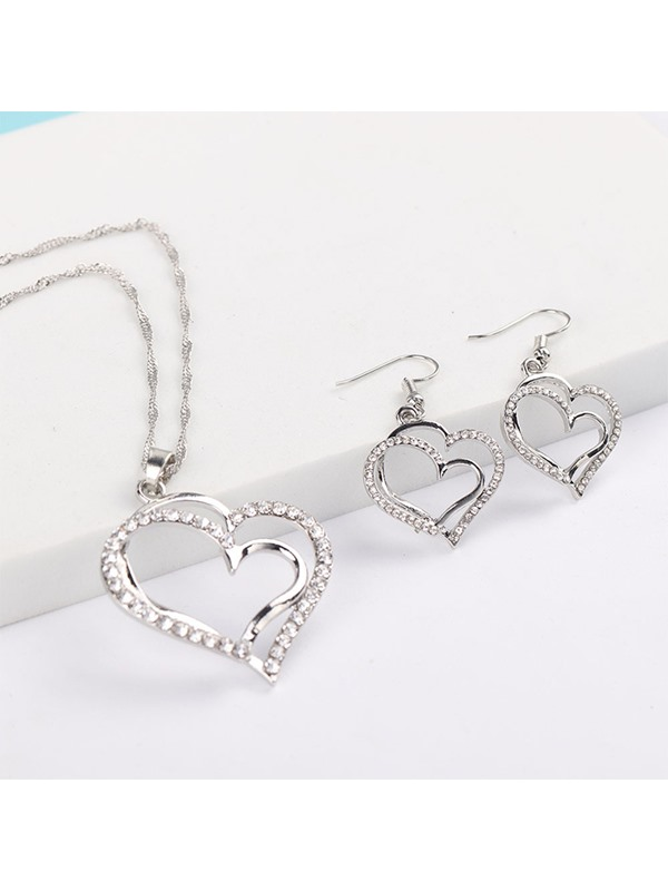 European E-Plating Heart-Shaped Jewelry Sets (Wedding)