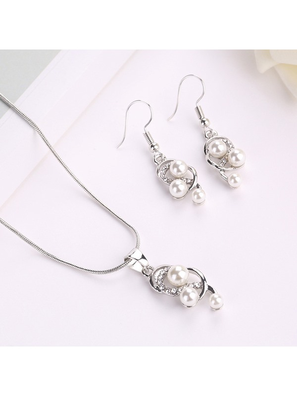 Korean Pearl Inlaid Necklace Jewelry Sets (Wedding)