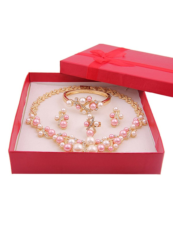 Pearl Inlaid Style Prom Jewelry Set
