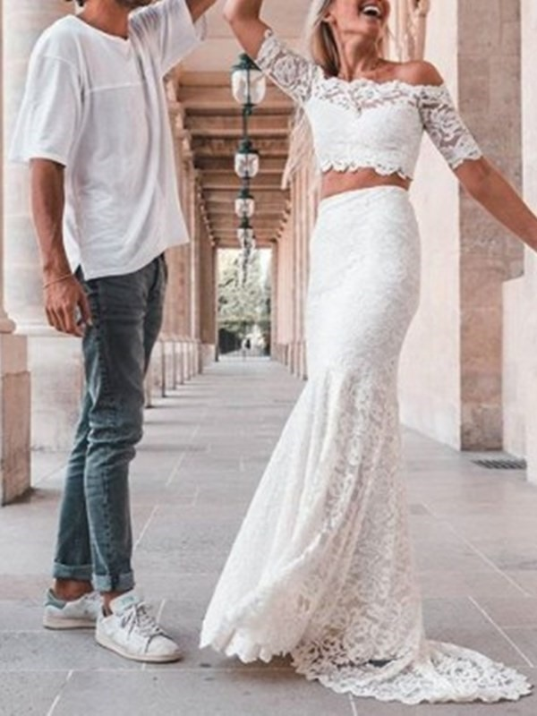 Two Pieces Half Sleeves Lace Mermaid Wedding Dress 2019