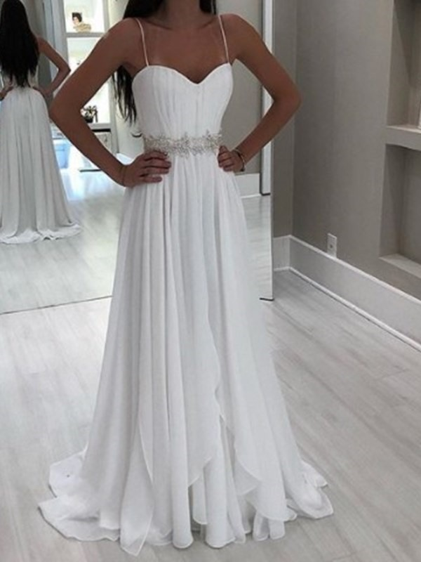 A-Line Beading Spaghetti Straps Beach Wedding Dress 2019