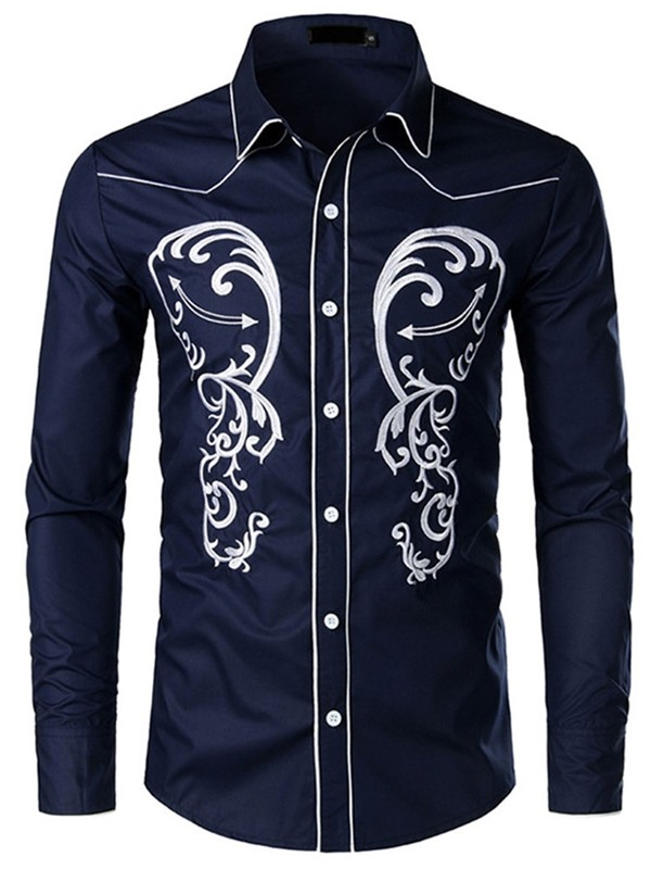 Embroidery Lapel Single-Breasted Men's Shirt