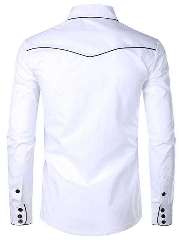 Lapel Embroidery Single-Breasted Men's Shirt