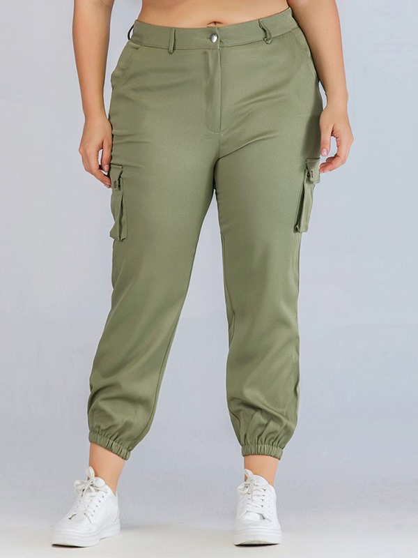 Slim Plain Pocket Mid-Calf Women's Casual Pants