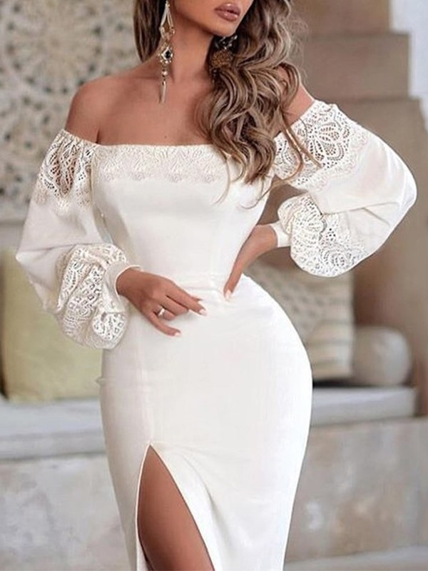 Lace Long Sleeve Off Shoulder Pullover Lantern Sleeve Women's Dress