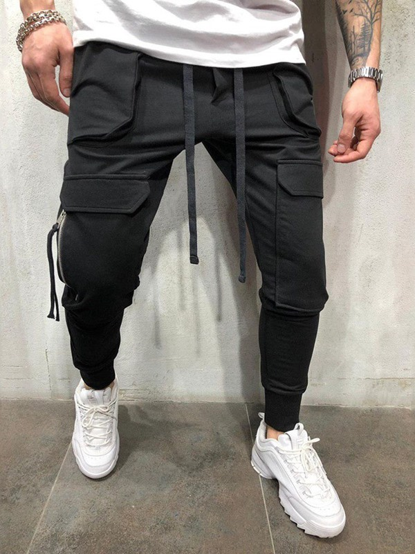 Plain Lace-Up Overall Pockets Men's Casual Pants