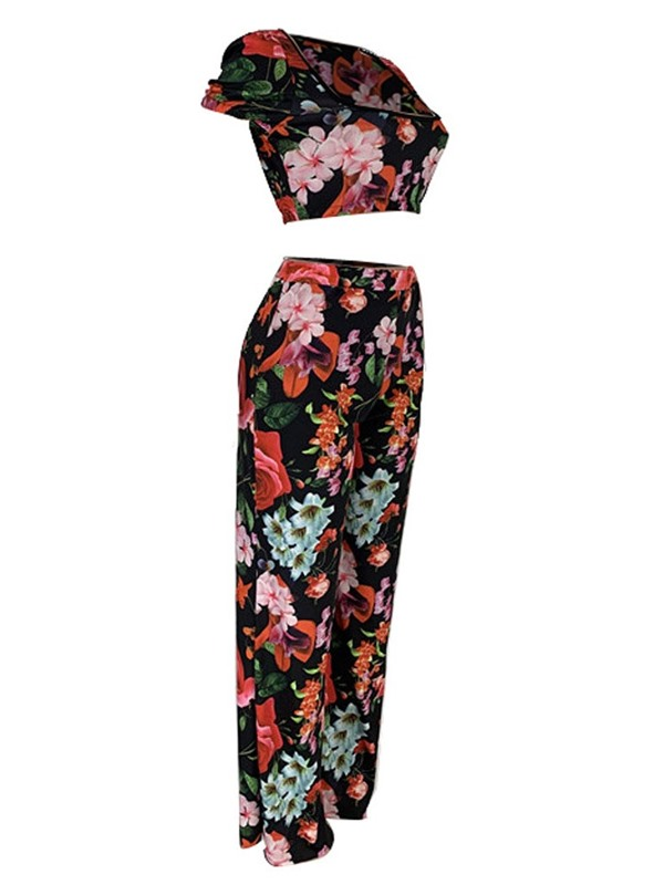 Office Lady Print Floral Pullover Square Neck Women's Two Piece Sets