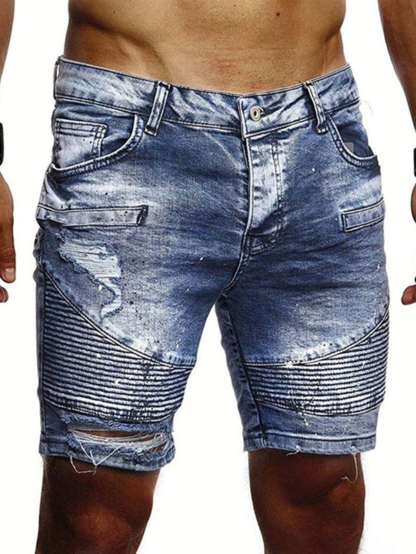 Hole Worn Fashion Men's Denim Shorts