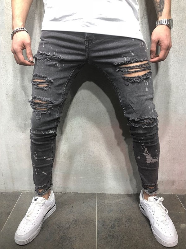 Worn Hole Pleated Thin Zipper Men's Ripped Jeans