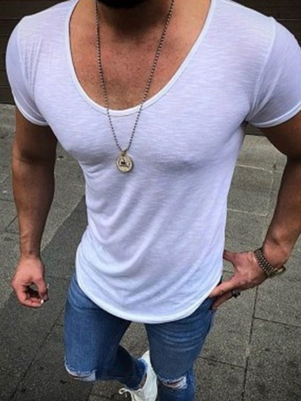 Plain Round Neck Short Sleeve Men's Slim Fit T-Shirt