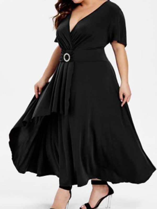 Ankle-Length Pleated V-Neck A-Line Plus Size Women's Dress