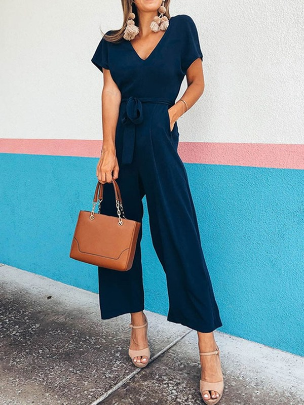 Ankle Length Plain Western Loose Straight Women's Jumpsuit