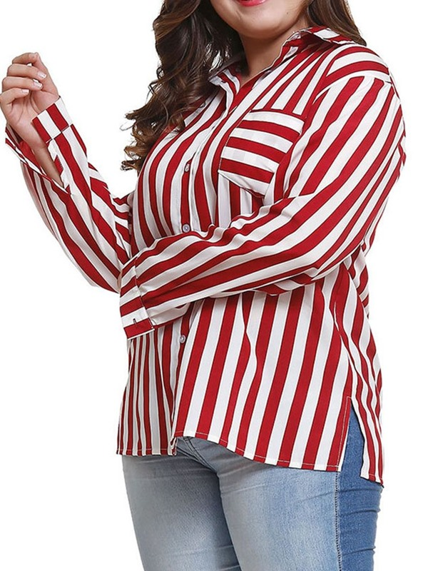 Plus Size Stripe Loose Long Sleeve Women's Blouse