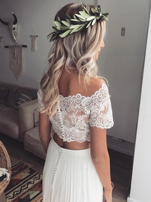 Two Piece Button Off-The-Shoulder Beach Wedding Dress 2019
