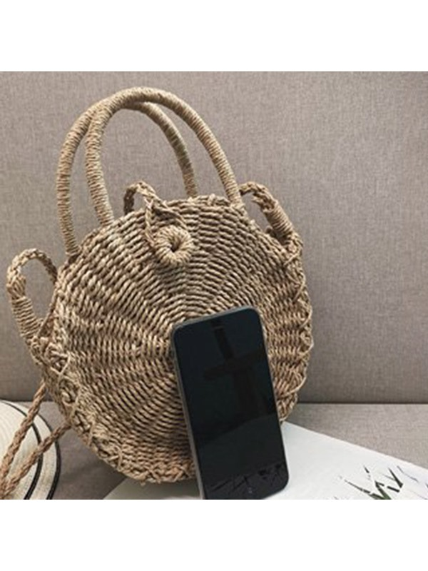 Plain Grass Knitted Circular Tote Bag