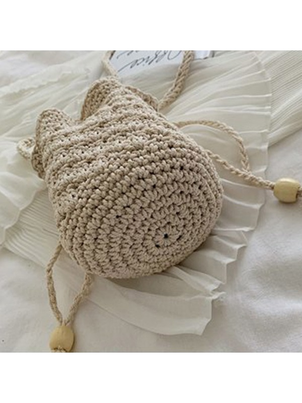Knitted Linen Plain Barrel-Shaped Crossbody Bag