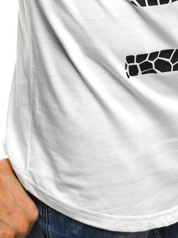 Letter Print Round Neck Casual Loose Men's T-Shirt