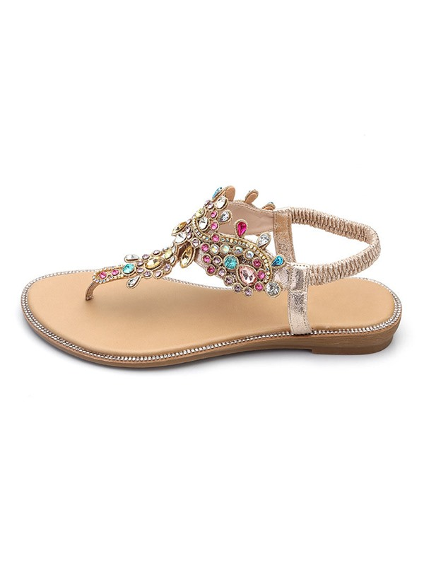 Block Heel Elastic Band Rhinestone Women's Sandals