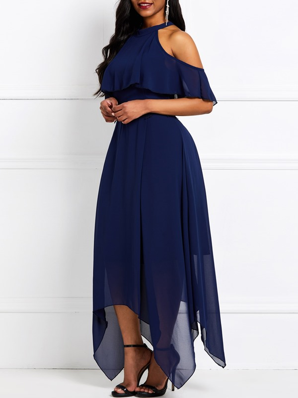 Half Sleeve Ankle-Length Falbala Standard-Waist Plain Women's Dress