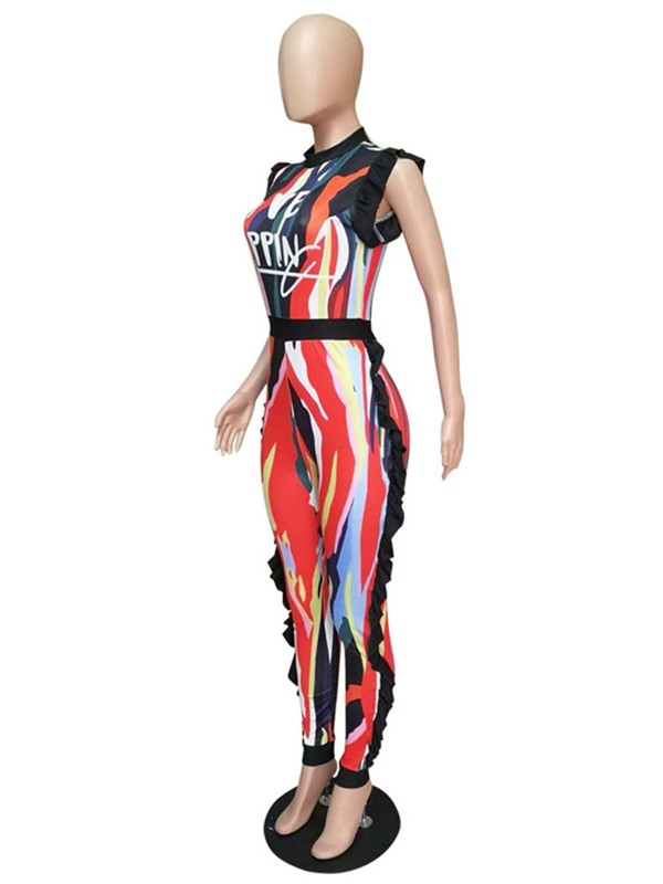Ankle Length Office Lady Color Block Skinny Women's Jumpsuit