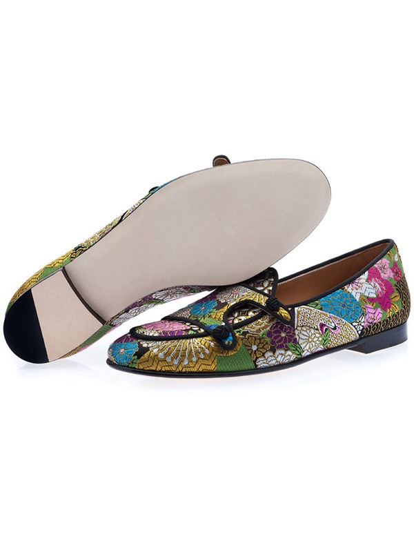 Customized Floral Slip-On Pointed Toe Men's Dress Shoes