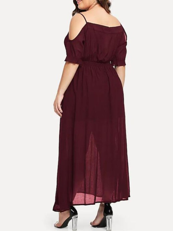 Plus Size Pleated Ankle-Length Half Sleeve Women's A-Line Dress