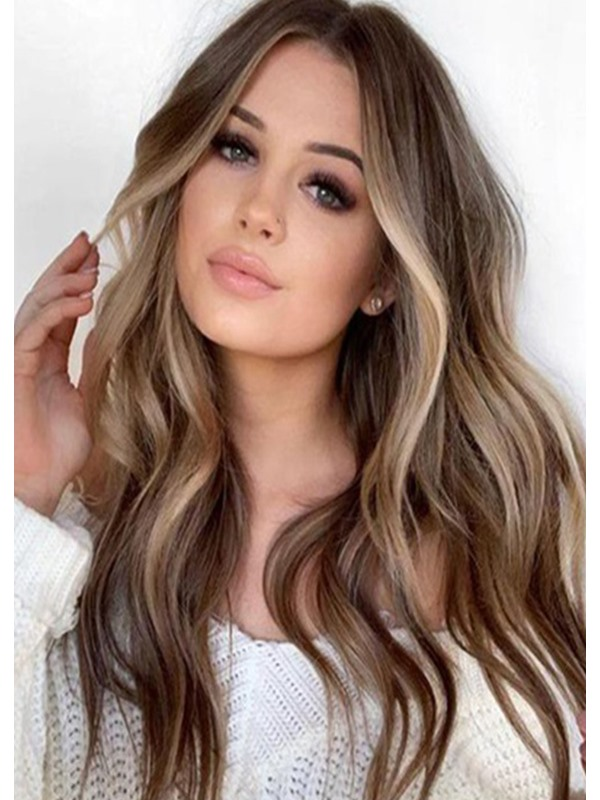 Mixed Color Women's Long Wavy Synthetic Hair Capless Wigs 26inches
