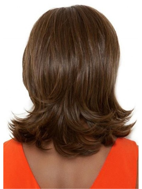 Women's Brown Color Mid Length Wavy Synthetic Hair Wigs Capless Wigs 16inch