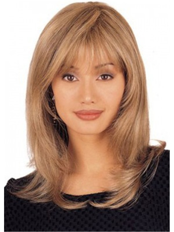 Brown Color Natural Straight Synthetic Hair Wigs Women's Mid Length Capless Wigs 18inch