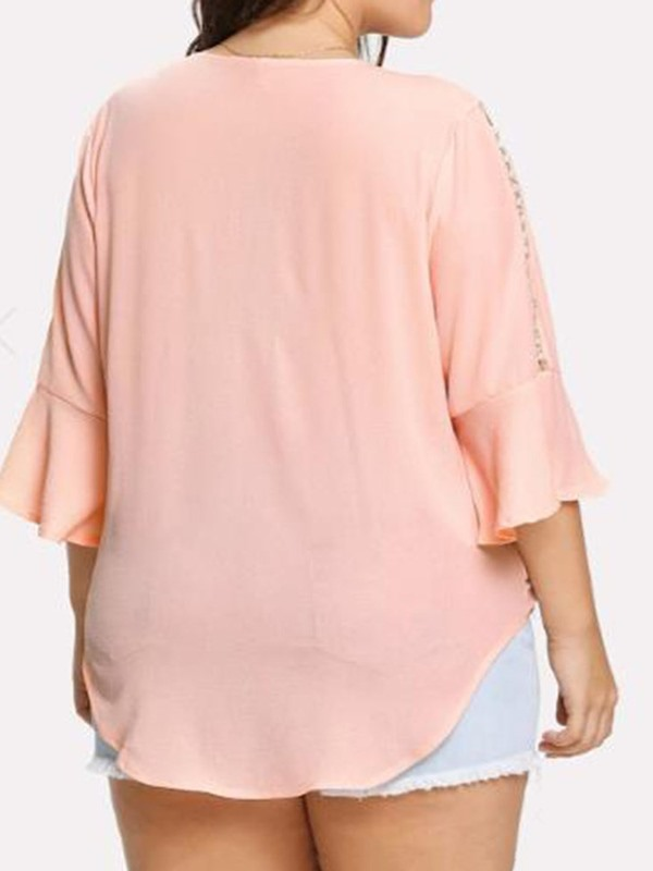 Plus Size V-Neck Plain Flare Sleeve Women's Blouse